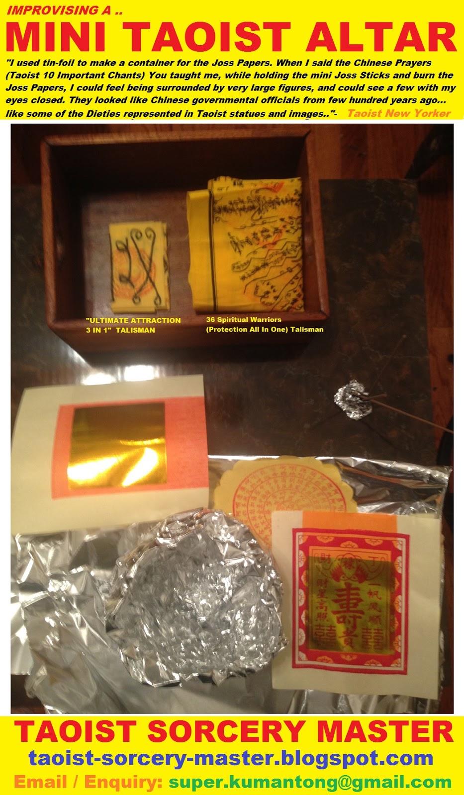 TAOIST SORCERY MASTER: Improvising A Mini Taoist Altar & Burning Of