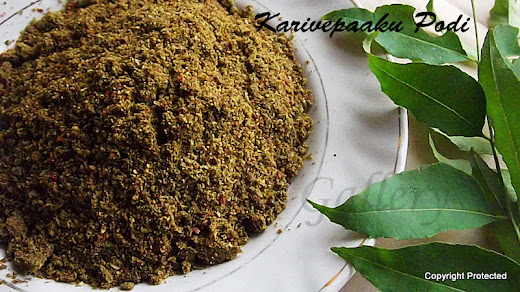 karivepaaku podi, curry leaves powder