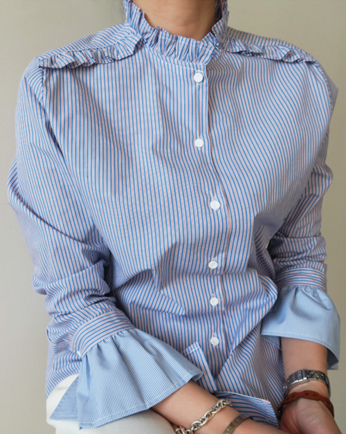 Straight Ruffled Collar Blouse