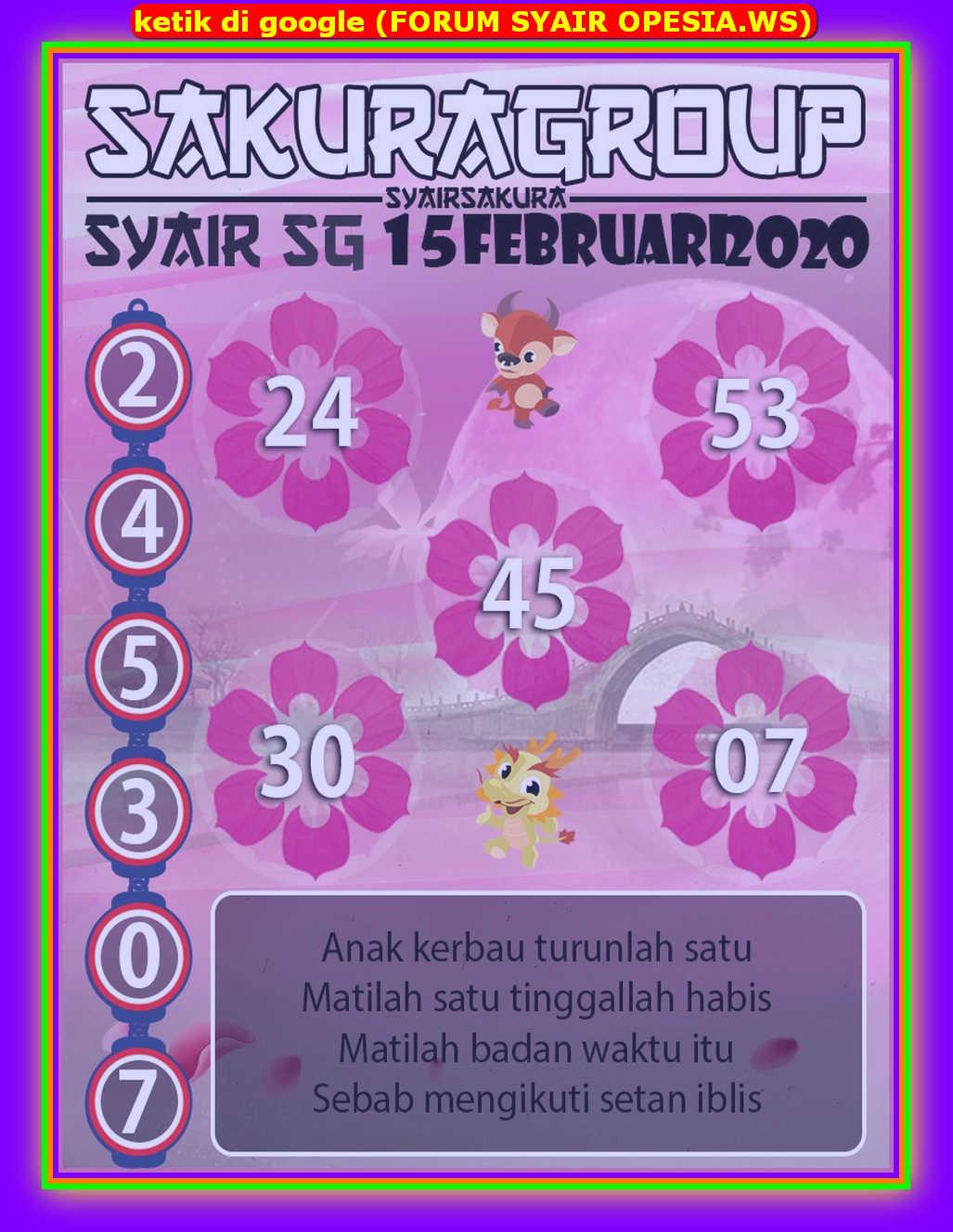 Kode syair Singapore Sabtu 15 Februari 2020 160
