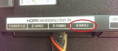 Memastikan koneksi MHL pada HDMI port HDTV