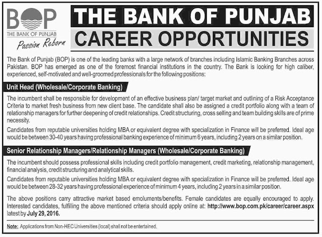Jobs in Bank of Punjab Jobs in Pakistan 2016 for Various Position Apply Online