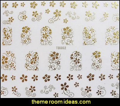 Gold Swirls Leaf Flowers nail decal stickers