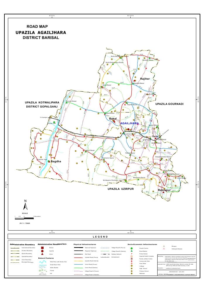 Agailjhara Upazila Road Map Barisal District Bangladesh