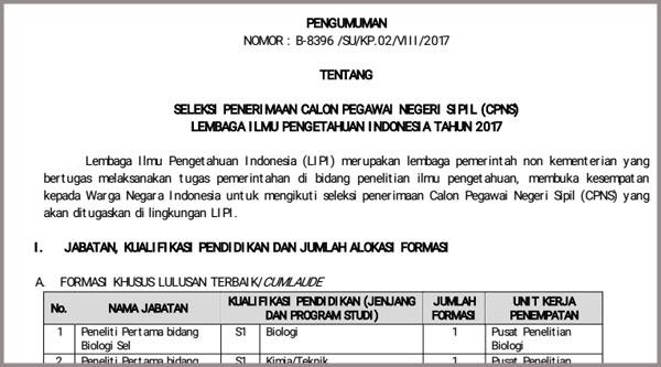 Info Hoax Seleksi CPNS LIPI 2017