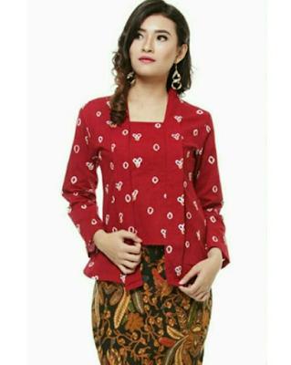 Model Baju Batik Jumputan Kombinasi