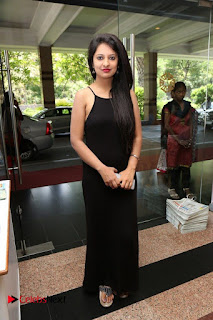Actress Nikita Bisht Pictures in Black Long Dress at Akritti Elite Exhibition Launch  0078