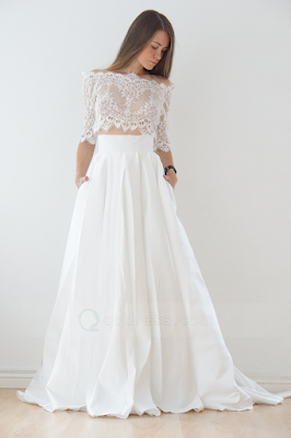 off-shoulder wedding dress with pocket