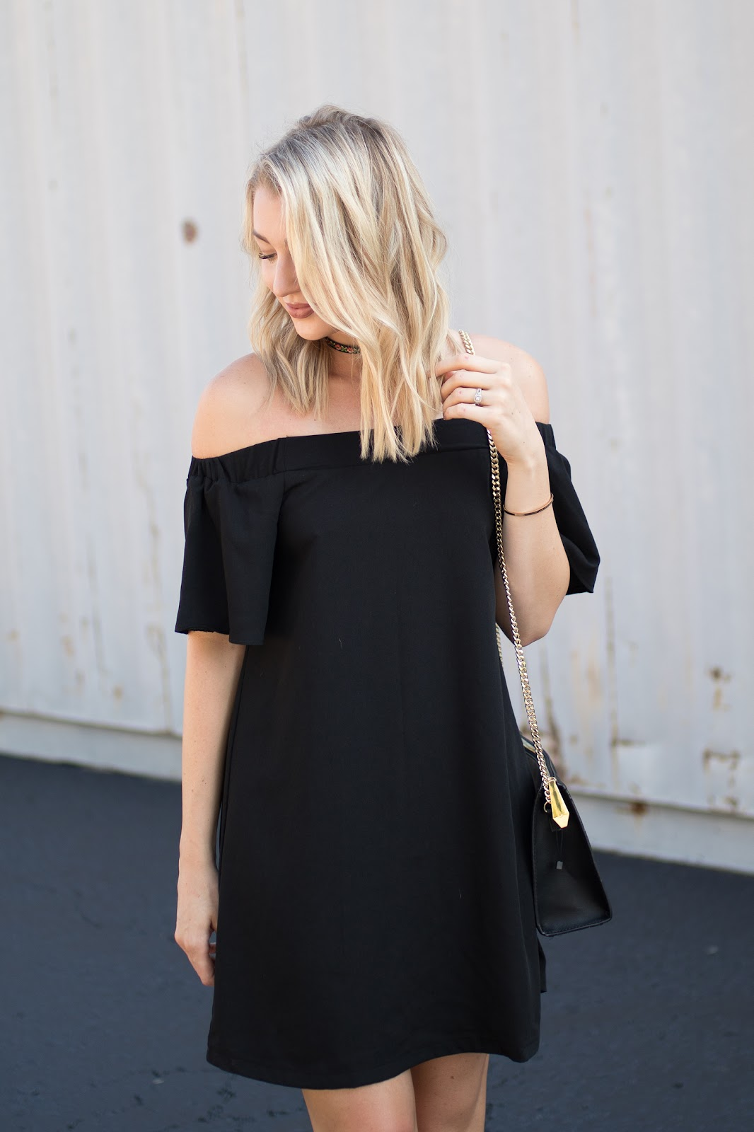 Black off-shoulder dress