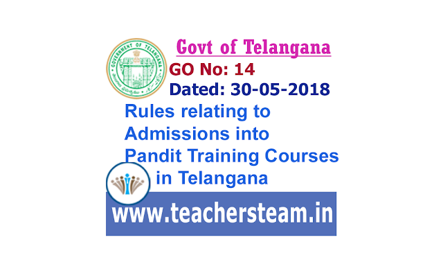 Rules relating to Admissions into Pandit Training Courses in Telangana