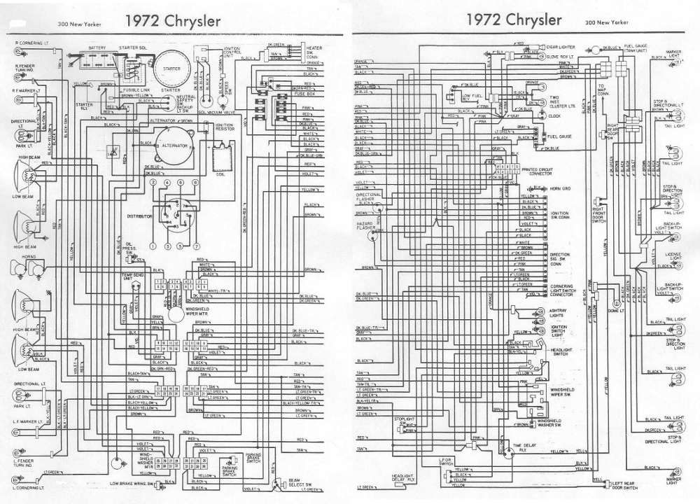 chrysler 300 new yorker 1972 complete electrical wiring ... 1966 chrysler 300 wiring diagram #14