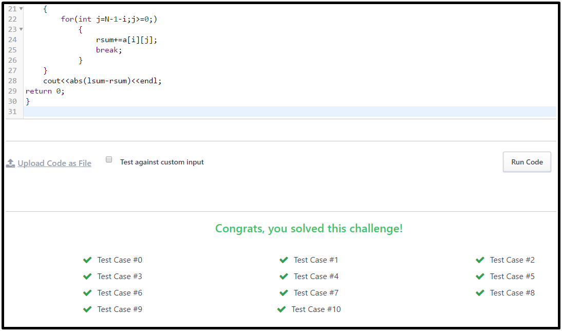 Diagonal Difference Hackerrank Output C++