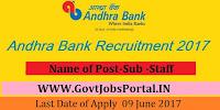 Andhra Bank Recruitment 2017– Sub-Staff