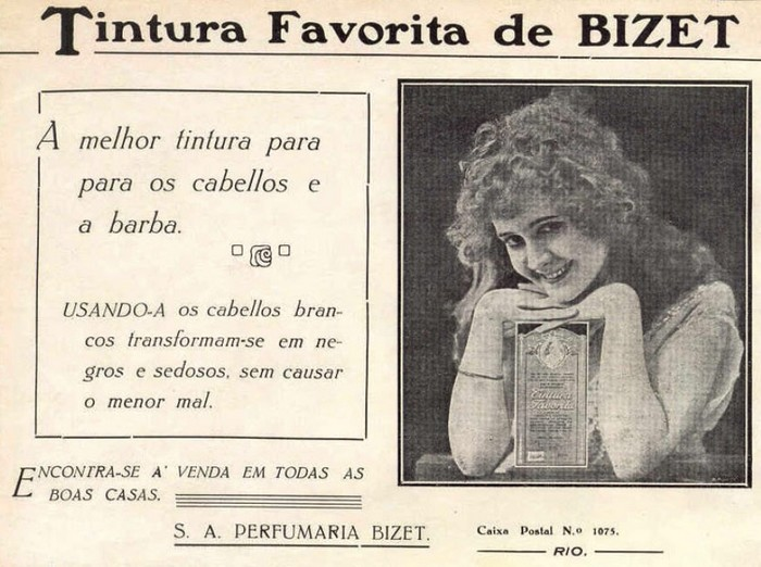 Propaganda de 1917 da Tintura Bizet para transformar fios brancos em negros