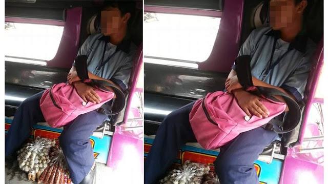 Foto-Pelajar-Tidur-di-Angkot-Karena-Kele
