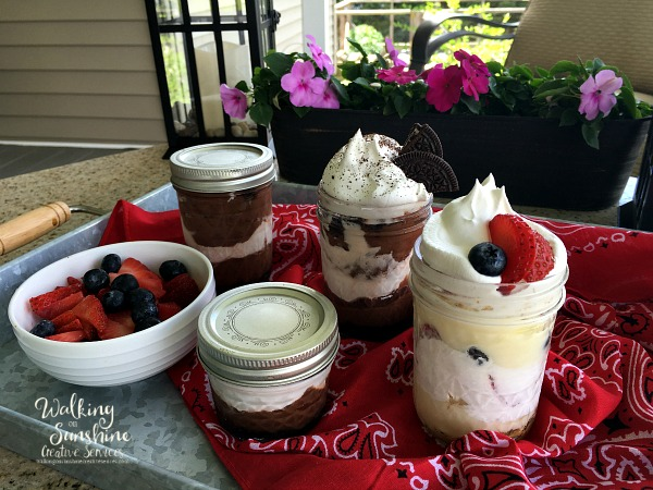 Easy and Delicious No Bake Desserts in Mason Jars from Walking on Sunshine Recipes.