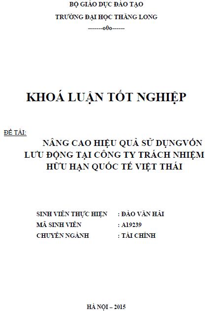 Nâng cao hiệu quả sử dụng vốn lưu động tại Công ty TNHH Quốc tế Việt Thái