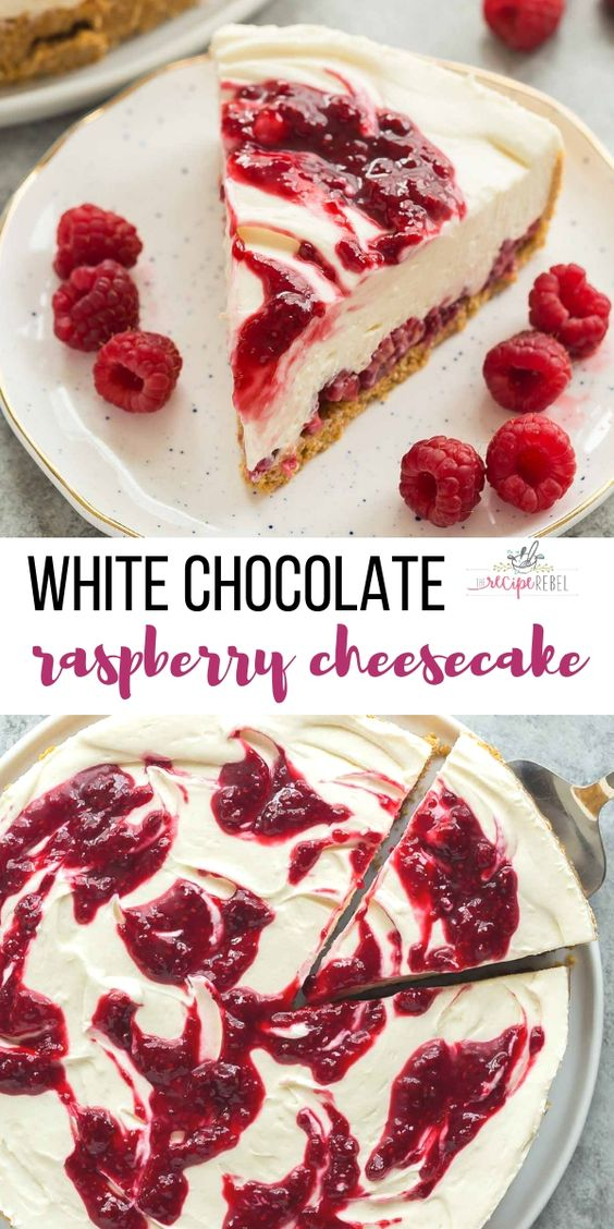 NO BAKE WHITE CHOCOLATE RASPBERRY CHEESECAKE RECIPE