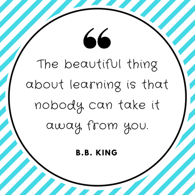 The beautiful thing about learning is that nobody can take it away from you. B.B. King