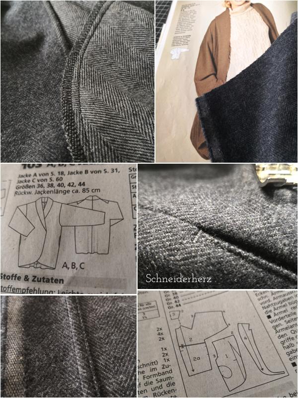 Burda Style Jacke Schnittmuster und Stoffdetails