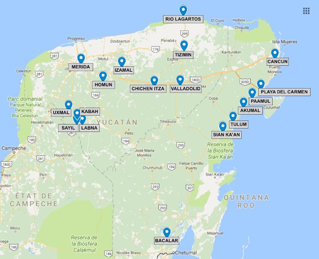 Carte Yucatan, les spots incontournables, Mexique, 15 jours