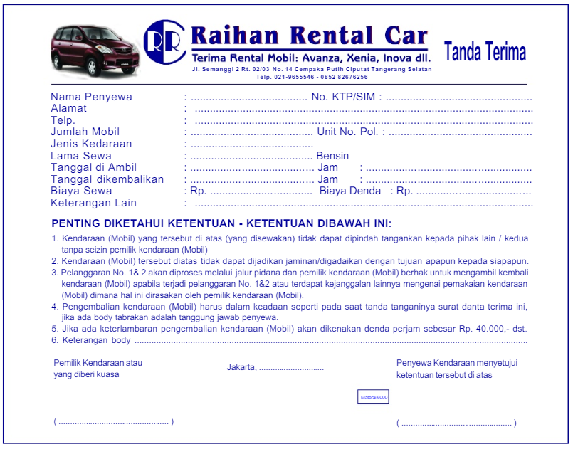Contoh Bil Rental Mobil Lengkap Yuksinicom