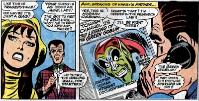 Amazing Spider-Man #61, don heck, john romita, in her big yellow hat, mary jane watson is depressed that she won't get paid. meanwhile, norman osborn is haunted by images of the green goblin