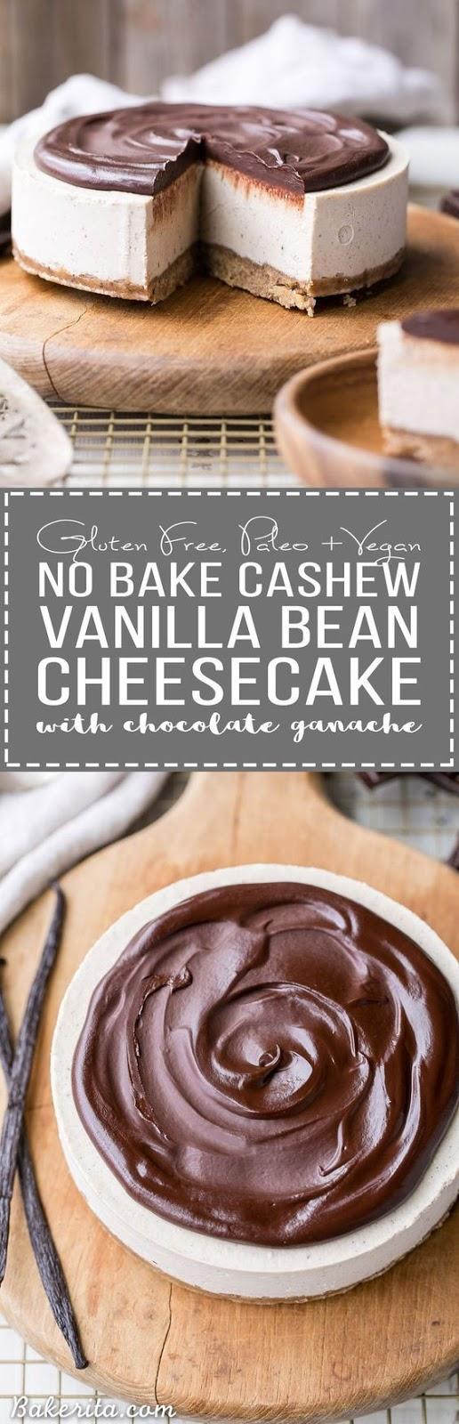 NO-BAKE VANILLA BEAN CHEESECAKE WITH CHOCOLATE GANACHE (GLUTEN FREE, PALEO + VEGAN)