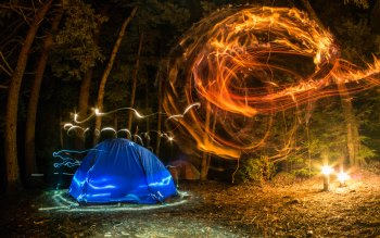 Wallpaper: Camping. Forest. Night. Lights