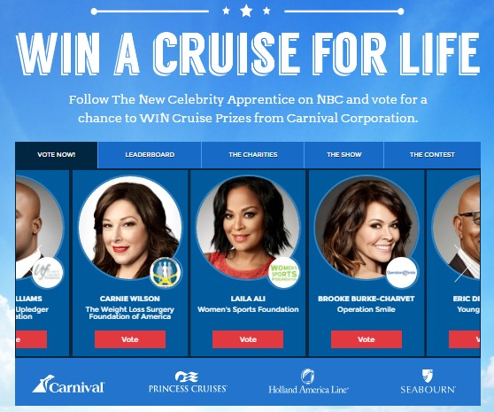The Carnival Corporation wants you to cast your votes daily for a chance to win a cruise every single year FOR THE REST OF YOUR LIFE!!!