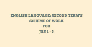 ENGLISH LANGUAGE: Second term's scheme of work for JSS 1 - 3