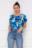 Bluza de vara Carmen albastra cu imprimeuri florale