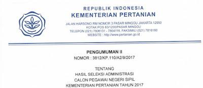 Pengumuman Hasil Seleksi Administrasi CPNS Kementerian Pertanian Tahun 2017