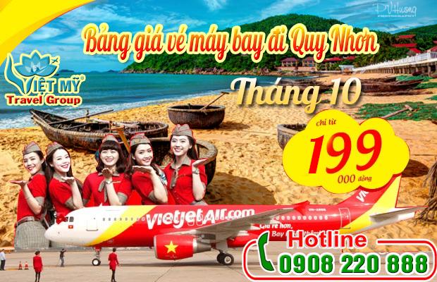 Vé máy bay đi Quy Nhơn tháng 10 hãng Vietjet Air