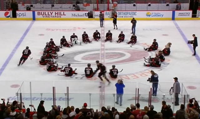 Carolina Hurricanes celebrate win with duck duck goose