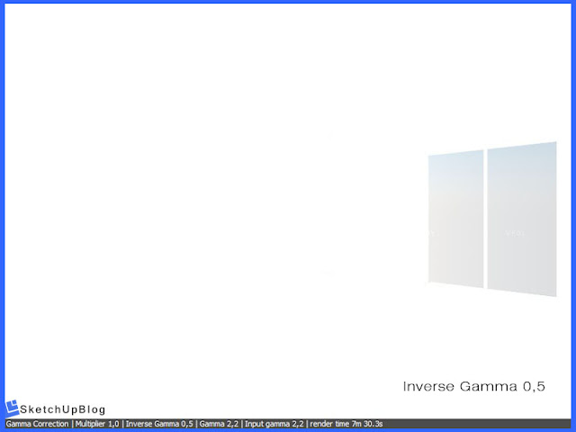 Cara setting Gamma Correction Color Mapping vray sketchup 2.0 - Inverse Gamma 0,5