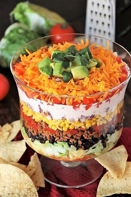 Layered taco salad recipe for a crowd
