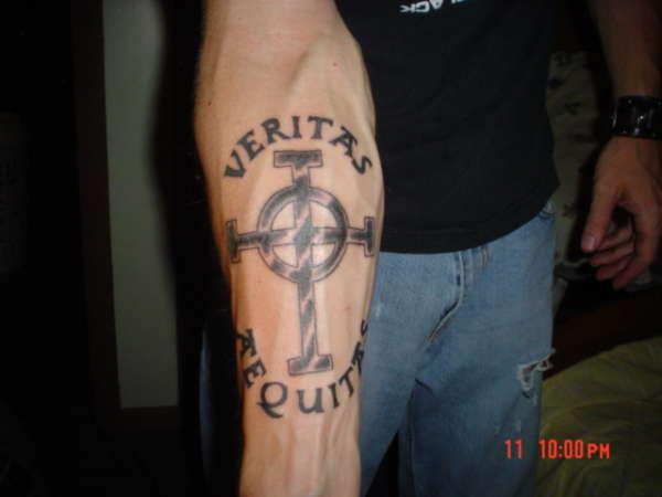 Veritas Aequitas Cross Tattoo