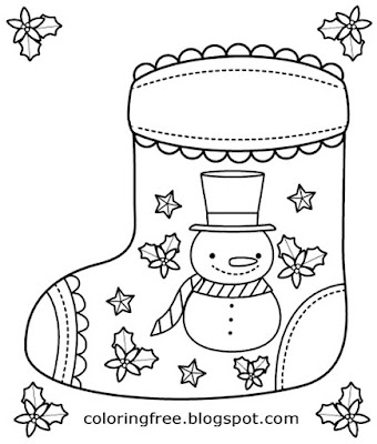 Plain winter snowman Xmas socks coloring pages easy Christmas sketch designs for kids to print out