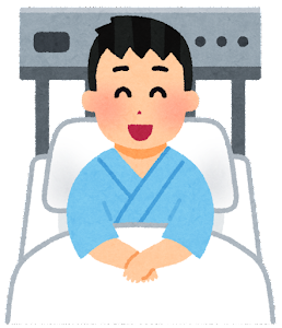 いろいろな表情の入院中の人のイラスト(男性・笑った顔)
