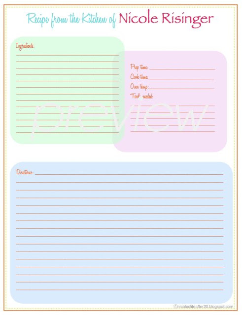 A living sacrifice some friday love recipe binder printable for Free printable full page recipe templates
