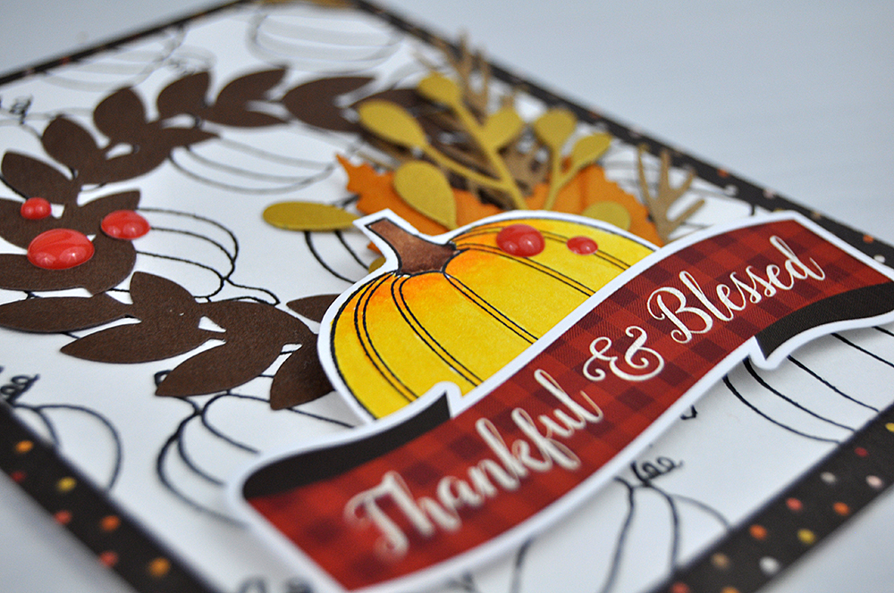 """Thankful and Blessed"" stamped card from www.jengallacher.com. #cardmaker #autumncard #fallcard #jengallacher #echoparkpaper"