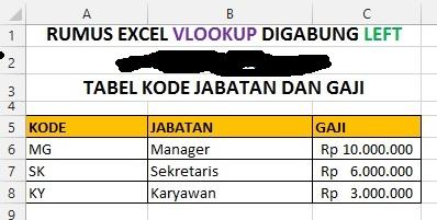 Contoh Soal Rumus Excel VLOOKUP Di Gabung Dengan LEFT