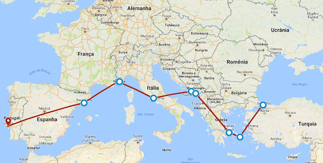 Roteiro Sul da Europa, Eurotrip, Portugal, Espanha, França, Itália, Croácia, Montenegro, Grécia, Turquia, Lisboa, Barcelona, Nice, Mônaco, Roma, Dubrovnik, Kotor, Atenas, Míconos, Istambul