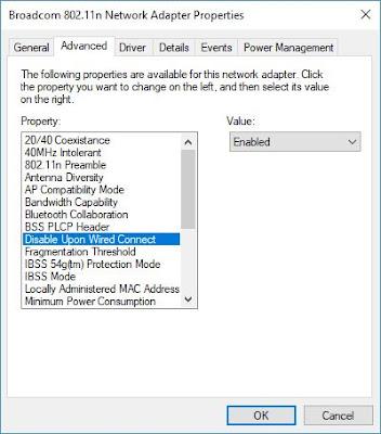 Couper le wifi chaque fois que vous branchez un câble Ethernet  Network-Adapter-Properties