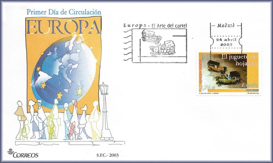 Sobre de la serie Europa de 2003, con el lema El Arte del Cartel, y sello de JCarrero, El juguete de hojalata