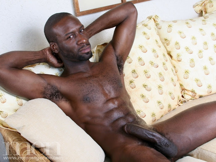 Big black cock and abs