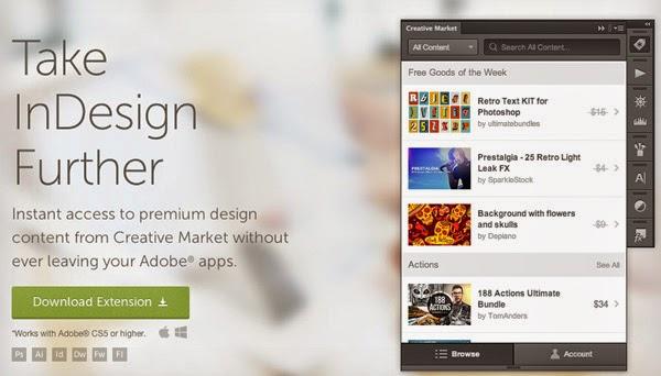 Ekstensi ini memberikan Anda akses cepat ke konten desain gratis dan premium dari Pasar Kreatif, yang merupakan komunitas besar untuk kreatif independen di seluruh dunia. Setiap minggu Anda bisa mendapatkan gratis grafis, template, font, kuas dan banyak lagi.