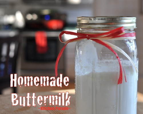 Homemade Buttermilk, another Homemade Pantry recipe ♥ KitchenParade.com, just three ingredients for the thickest, creamiest and tangiest homemade buttermilk ever.
