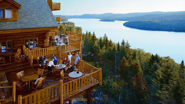 Beautiful view from Sacacomie hotel Saint Alexis des Monts Canada